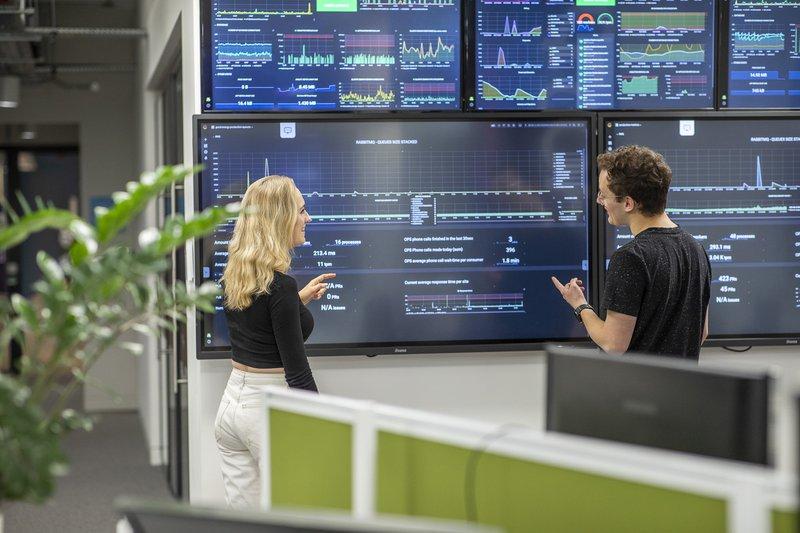 An Octopus energy team member analysing energy data