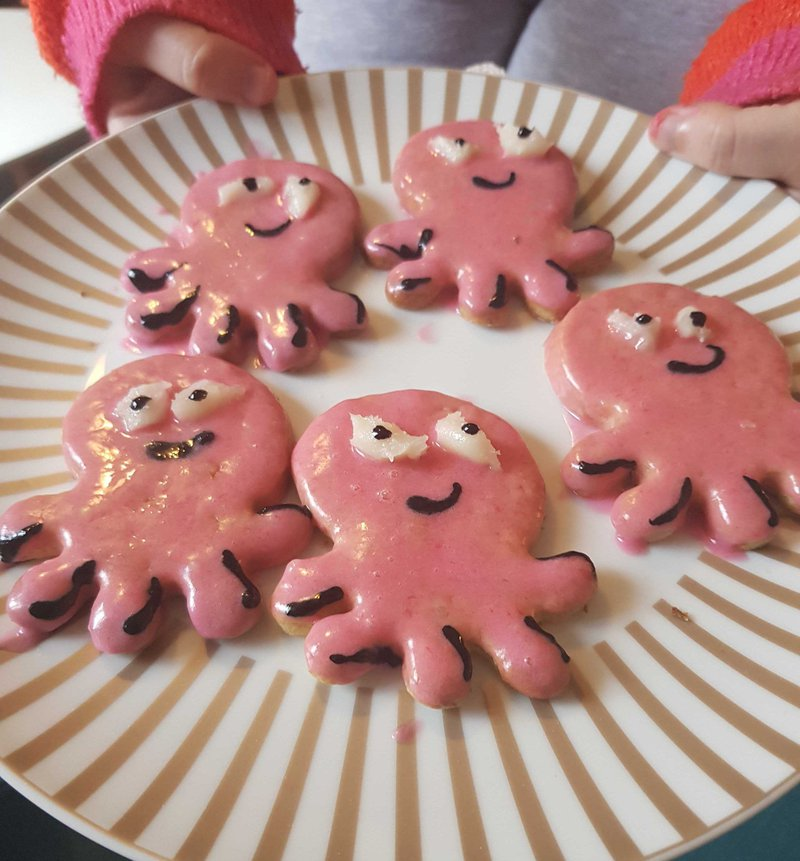 Some Octopus biscuits on a plate