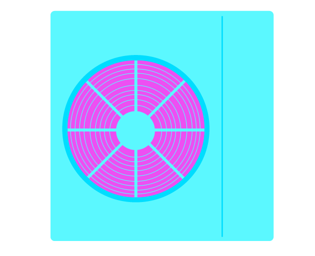 A graphic showing the fan on the side of a heat pump
