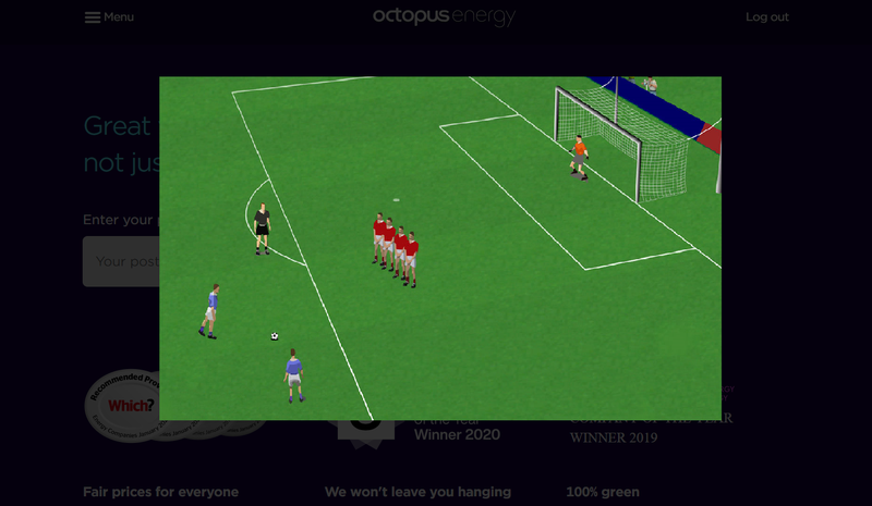 A screenshot of Baggio's magical free kicks running on the Octopus Homepage