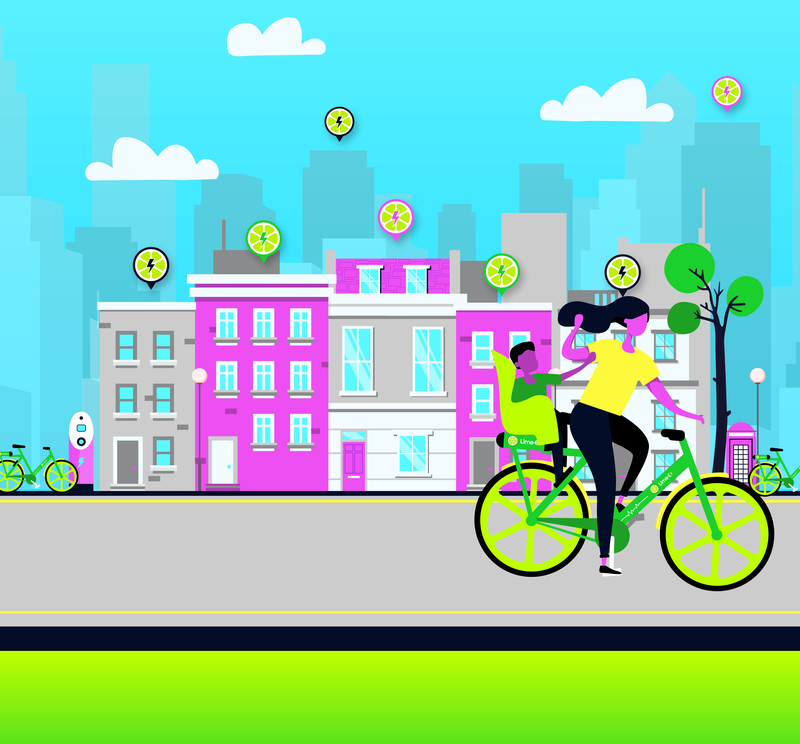 A graphic that shows a woman on a lime bike cycling through a bustling high street