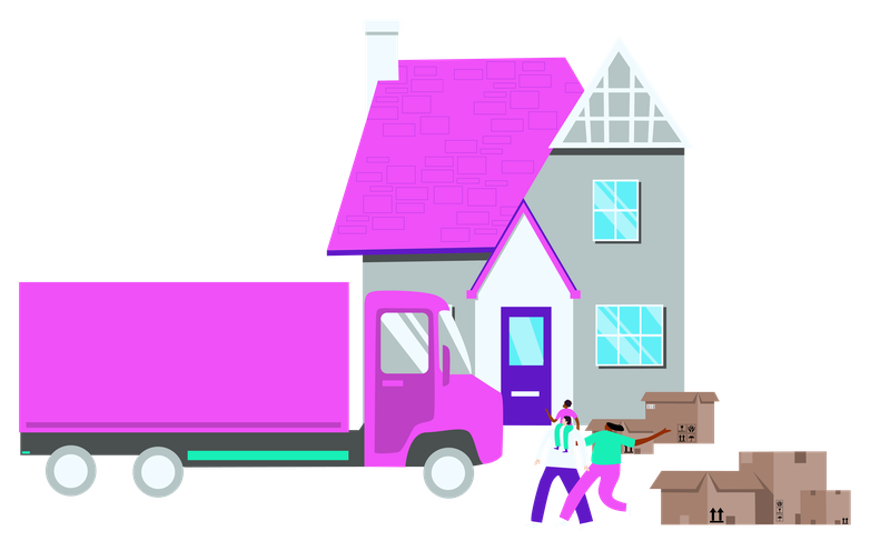 A graphic showing somebody moving into a new home
