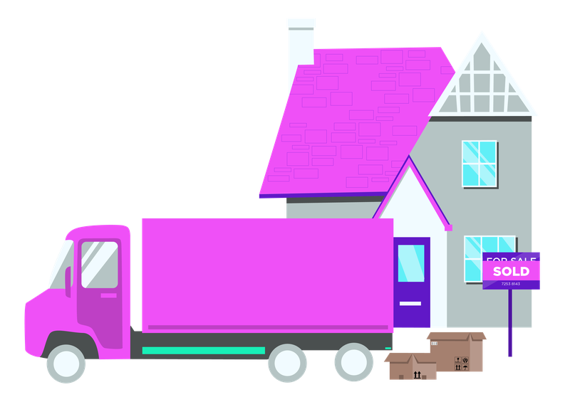 A graphic showing a moving van