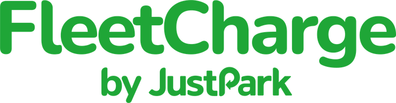 A logo reading 'FleetCharge by JustPark'