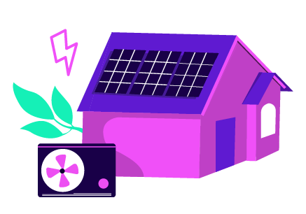 An graphic of a home with a heat pump