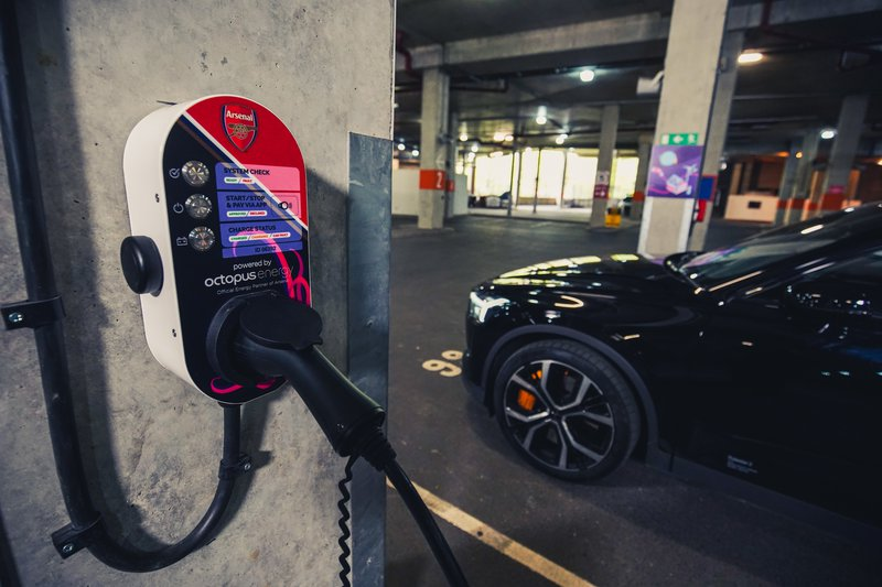 an image of an ev charger at the emirates stadium