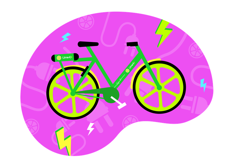 A stylised animated image of a Lime Bike in a pink blob