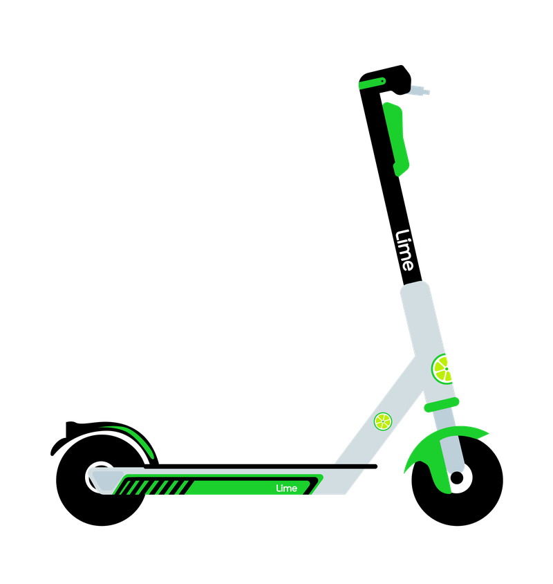 A graphic of a lime scooter