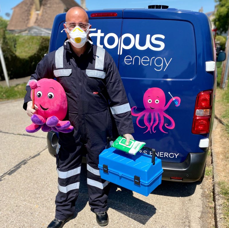 An image of an octopus engineer in PPE