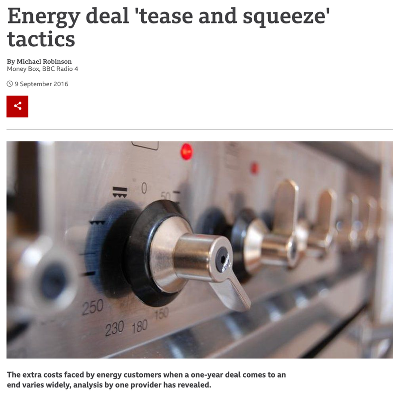 An image of a BBC headline reading 'Energy deal 'tease and squeeze' tactics'