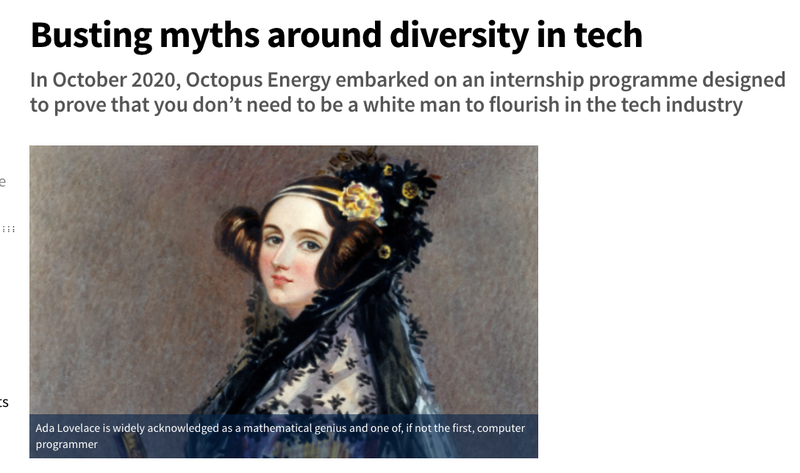 Computing.co.uk headline reading Busting myths around diversity in tech