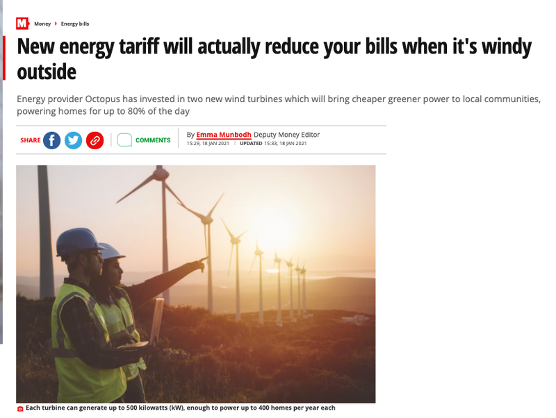 Mirror.co.uk headline reading 'New energy tariff will actually reduce your bills when it's windy outside'