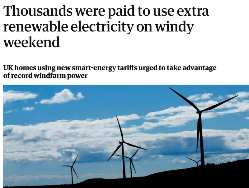 Guardian headline reading 'Thousands were paid to use extra renewable electricity on windy weekend'