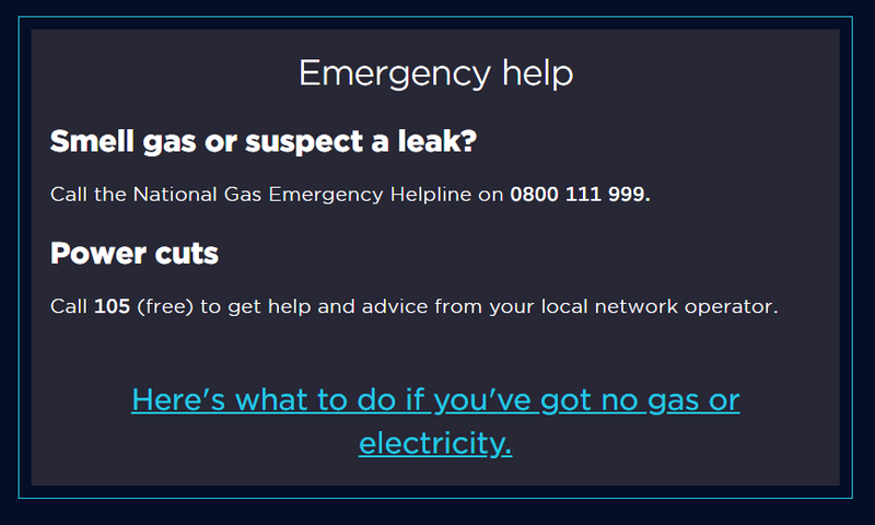 An image of a self contained action link that says 'here's what to do if you've got no gas or electricity'