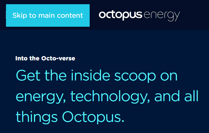 An image of our skip to main content button in the top left hand corner of the www.octopus.energy blog homepage