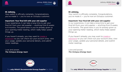 An image of two versions of our email template with different colour schemes