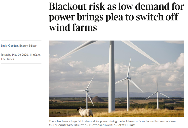 An image showing the title of an article in the Times. It says 'Blackout risk as low demand for power brings plea to switch off wind farms