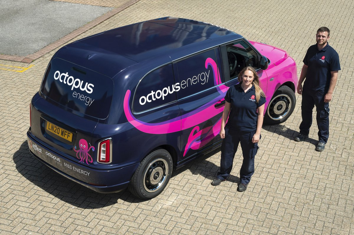 Octopus Energy Services engineers with their electric van