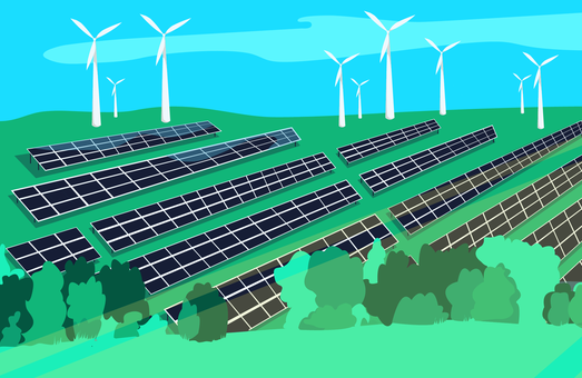 A cartoon image showing solar panels in the foreground and wind turbines in the background