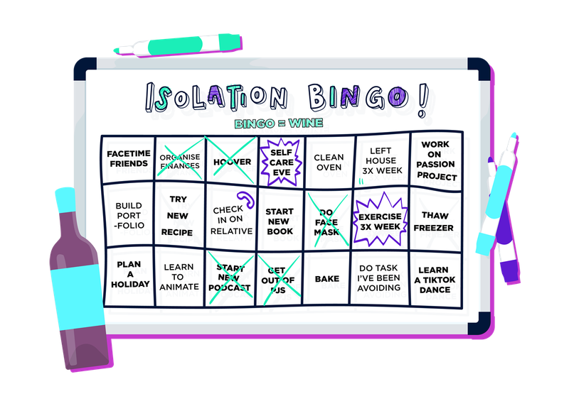 A graphic that shows an 'isolation bingo' game