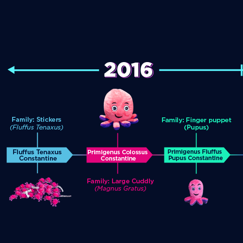 A timeline showing the evolution of our little cuddly octopuses, into our new, larger ones