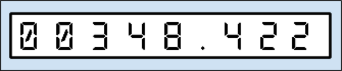 An image of digital metric gas meter, with 8 numbers (three after a decimal point)