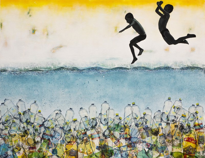 It seemed like such a good idea - a painting by db waterman of children jumping into a sea full of plastic