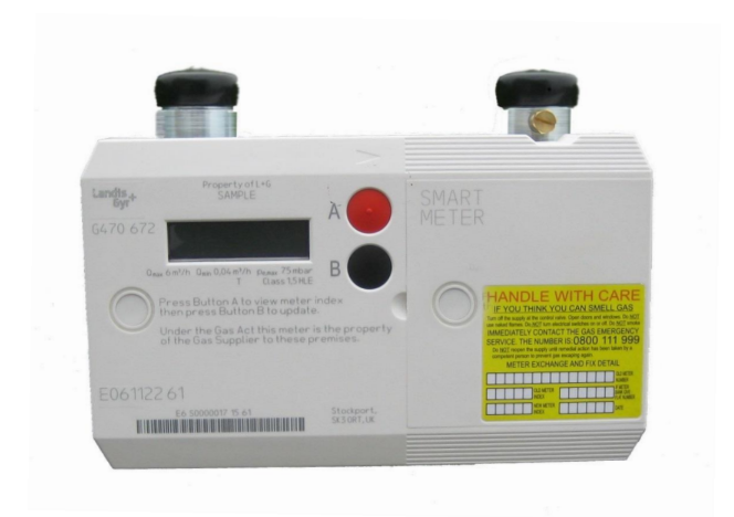 An image of landis and gyr smets2 smart gas meter
