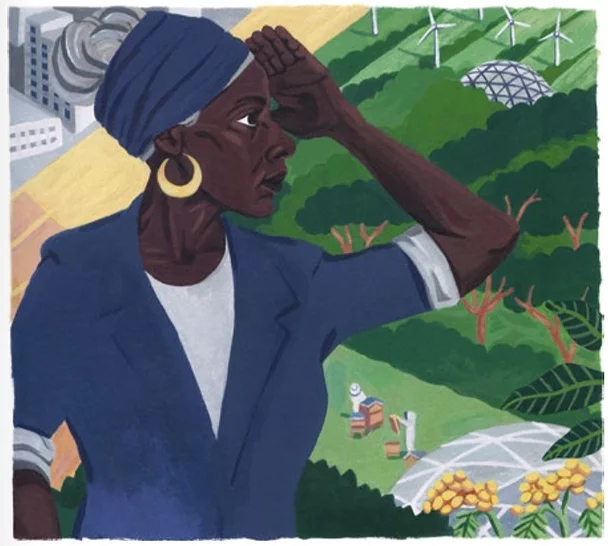 An illustration of Baroness Lola Young staring out over a landscape