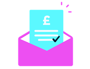 A graphic of a bill and an envelope