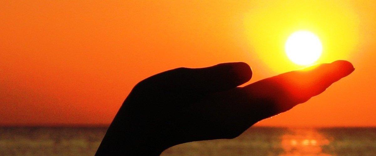 sun hand silhouette